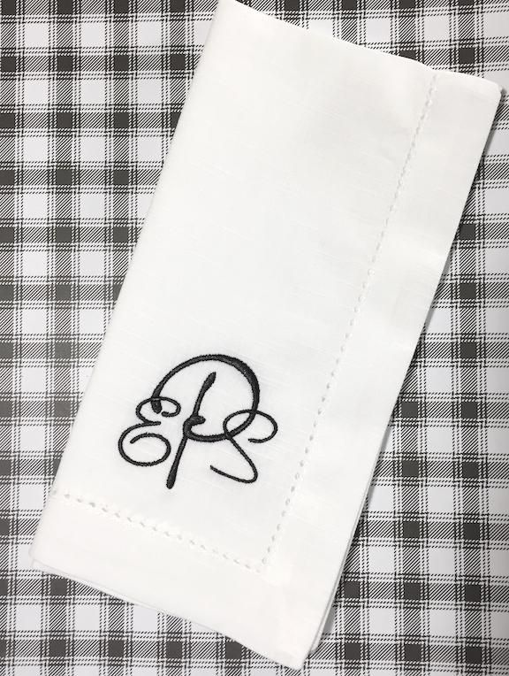 Paris Monogrammed Cloth Dinner Napkins - Set of 4 napkins