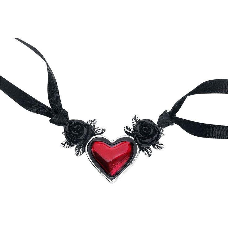 Blood Heart Halsband von Alchemy Gothic:  - Länge 3,3 cm - Breite 5,5 cm - mit hochwertigen Satinbändern
