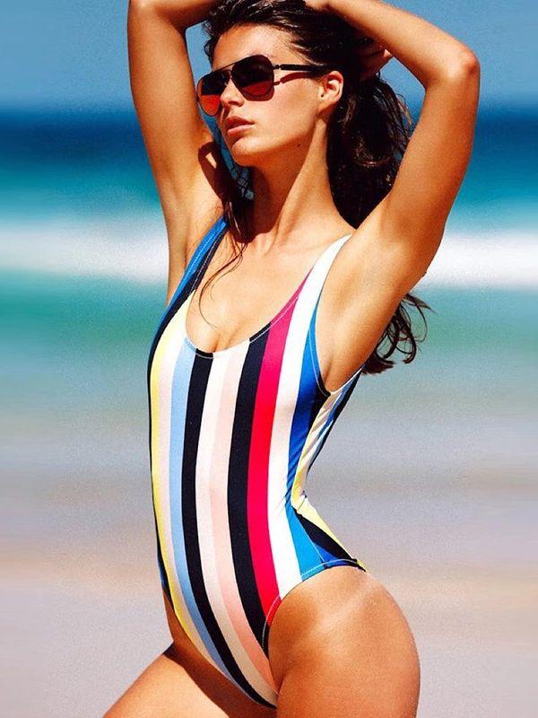 Old Shool Style Color Block Striped One Piece Bikini