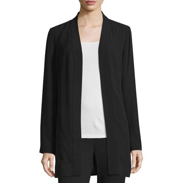 Eileen Fisher Silk Georgette Kimono Jacket (550 NZD) ❤ liked on Polyvore featuring outerwear, jackets, black, long kimono jacket, long kimono, long jacket, long sleeve jacket and open front jacket