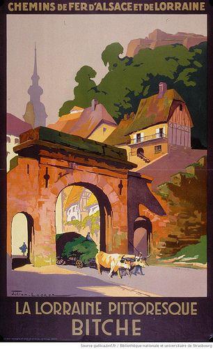 Vintage Railway Travel Poster - Bitche - La Lorraine pittoresque- by  Julien Lacaze.
