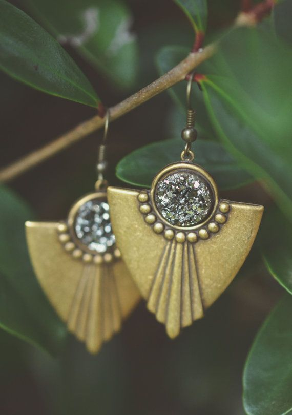 Druzy Art Deco Earrings  Made with bronze plated deco pendants and silver druzy cabochons.  Add a little sparkle to your wardrobe with these super