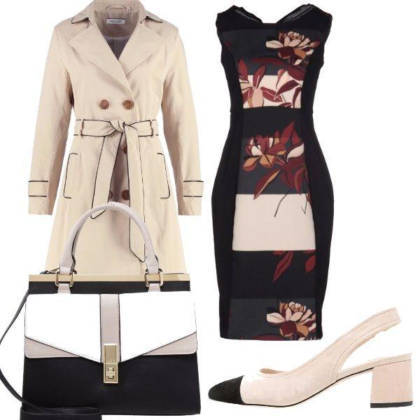 Outfit da giorno per il lavoro: vestito con fantasia floreale, trench nude con rifiniture nere, tacco comodo per chi deve stare molto in piedi e bellissima borsa dalla fantasia geometrica.