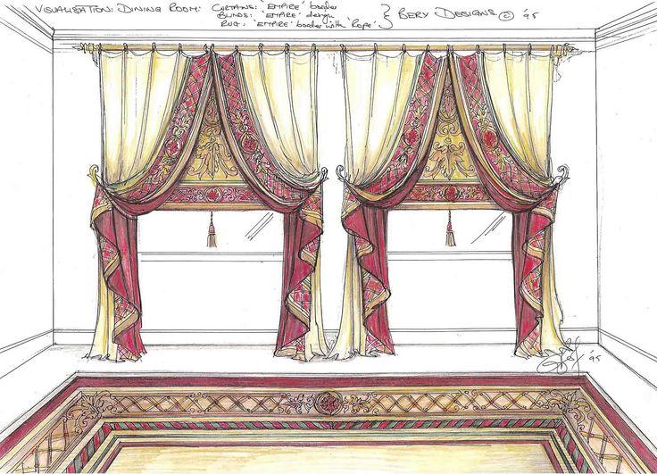 522 best эскизы images on Pinterest   Blinds, Victorian curtains ...