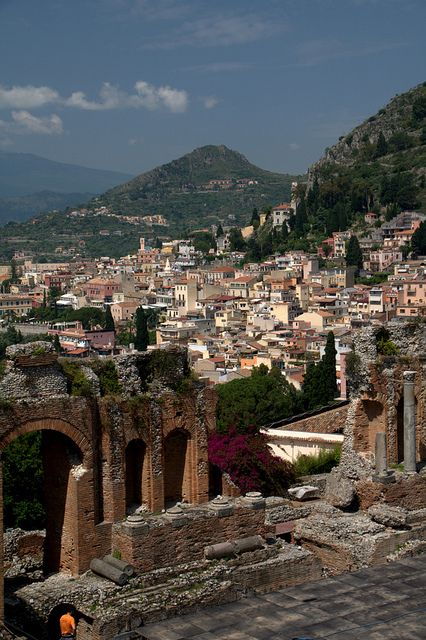 Taormina, Sicily Italy.I want to visit here one day.Please check out my website thanks. www.photopix.co.nz