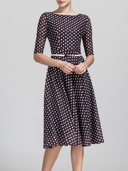 Brown Elegant Polyester Midi Dress Stylewe