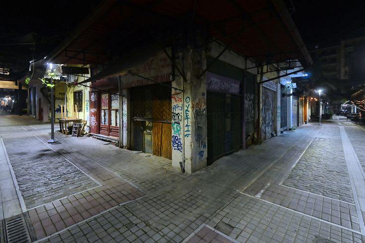 Παπαμάρκου με Μητροπολίτου Γενναδίου μετά τα μεσάνυχτα (Απρίλιος 2018)