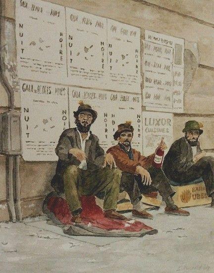 Eduard de Vries, Clochards, Rue Mouffetard, Quartier Latin, Parijs