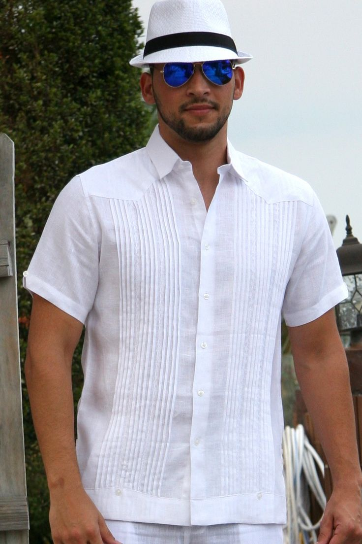Guayabera shirt linen chacavana beach wedding shirt for Wedding dress shirts for men