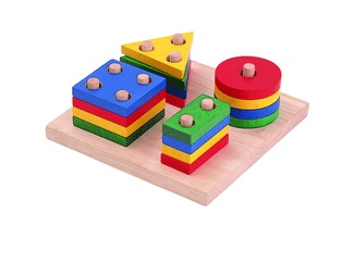 Plan Toys Geometric Sorting Board PLW-X2403 - I would love to see my son learn sorting his shapes with this toy.