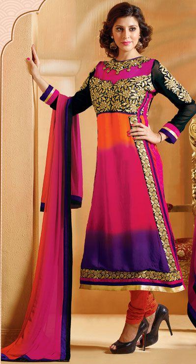 USD 37.62 Pink Georgette Churidar Suit 42756