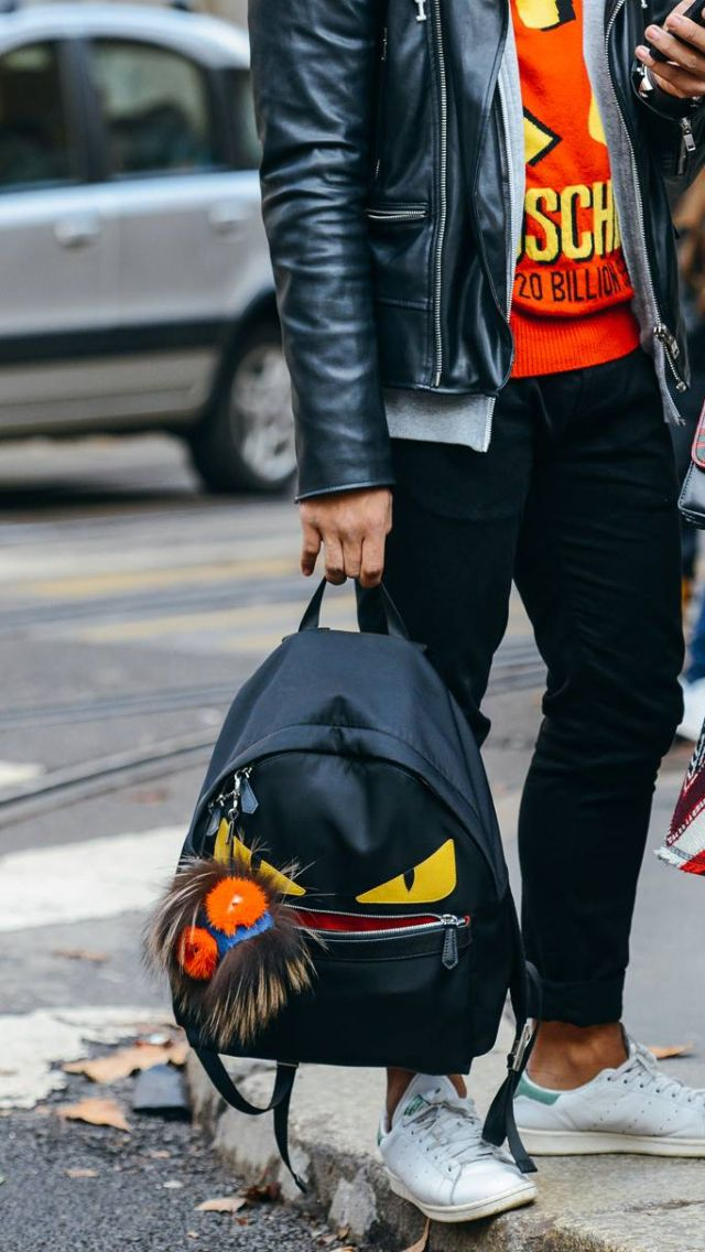 Fendi 'Lucifur' bag bug on that monster backpack, paired with Stan Smiths and the über cool Moschino jumper. I'm in heaven.