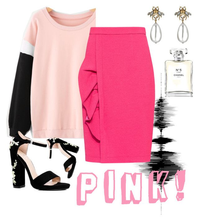 """""""Pink!"""" by onyourback on Polyvore featuring Boutique Moschino, Boohoo, Gucci and Chanel"""