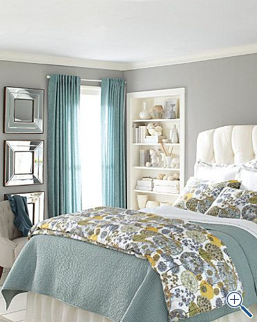 did curtains wall color and white headboard great combo bedroom new bedding idea add yellow to the already barely jade colored walls easy new look - Great Bedroom Colors