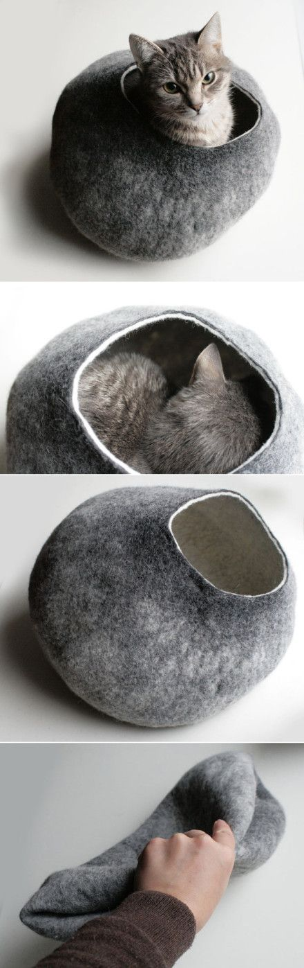 Wool felt cat bed. $59 Buy it here: http://www.etsy.com/listing/91233200/cat-bed-cave-house-vessel-hand-felted