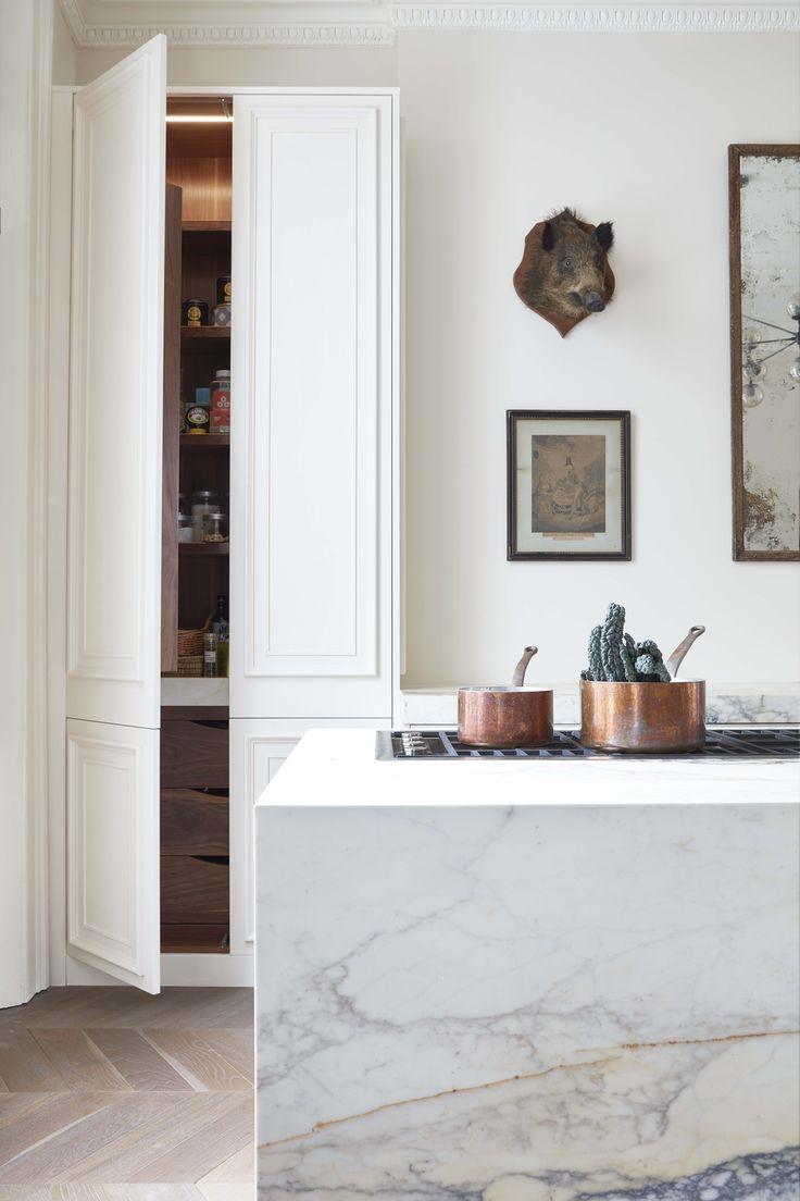 paonazzo marble, chevron parquet, walnut detailing, panelled kitchen, barazza hob, copper pots - #blakeslondon