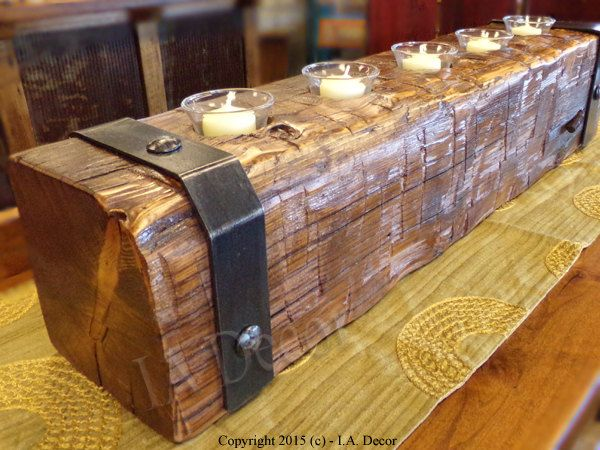 Hand Hewn Reclaimed Wood Beam Candle Holder With Metal