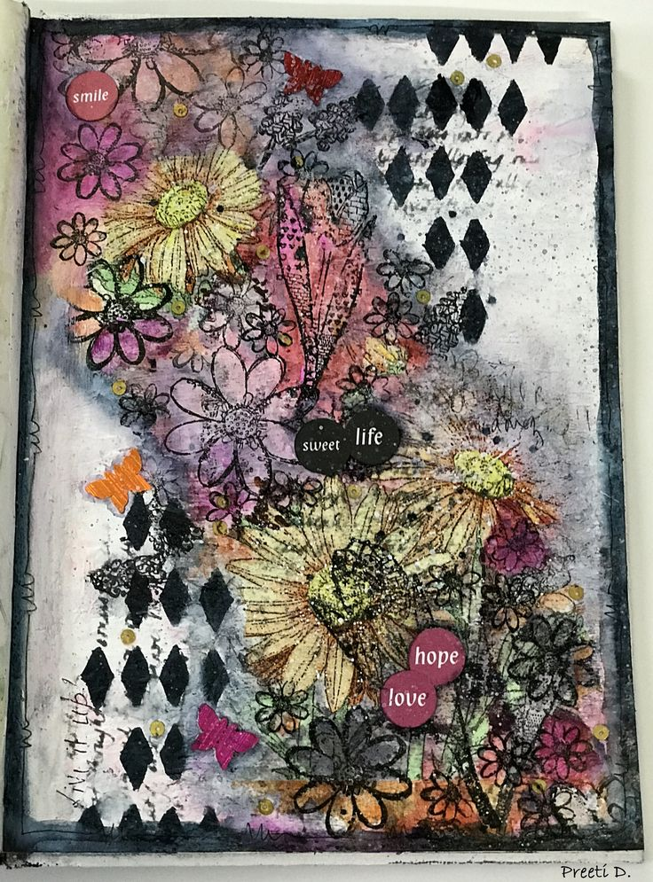 Mixed Media Art Journal Page #life #hope #mixedmedia #prima #timholtz #ranger #stencil #rubberdancestamps #decoupage #stamping #texture #layers #artjournal #artjournalling #journal #express #flowers #blooms #black #grey #shading