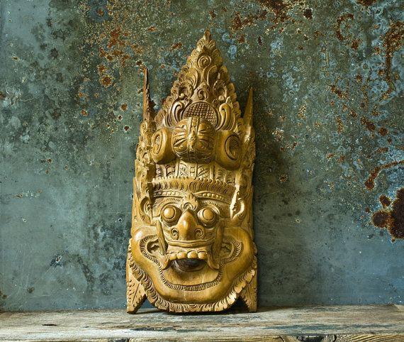 Vintage Indonesian Mask, Hand Carved Wooden Mask, Tribal