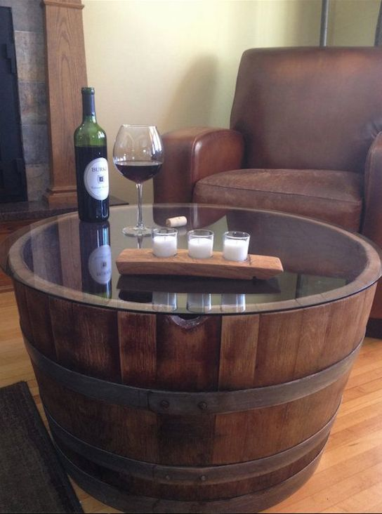 Reversible Reclaimed Half Wine Barrel Table With Tempered Gl Top