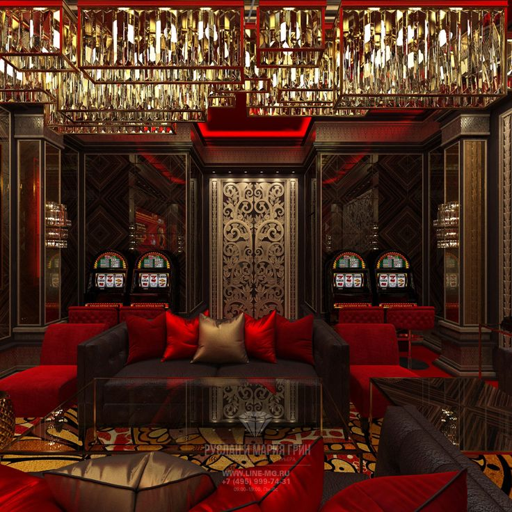 Золотые, бордовые и красные акценты в интерьере VIP казино в стиле ар-деко