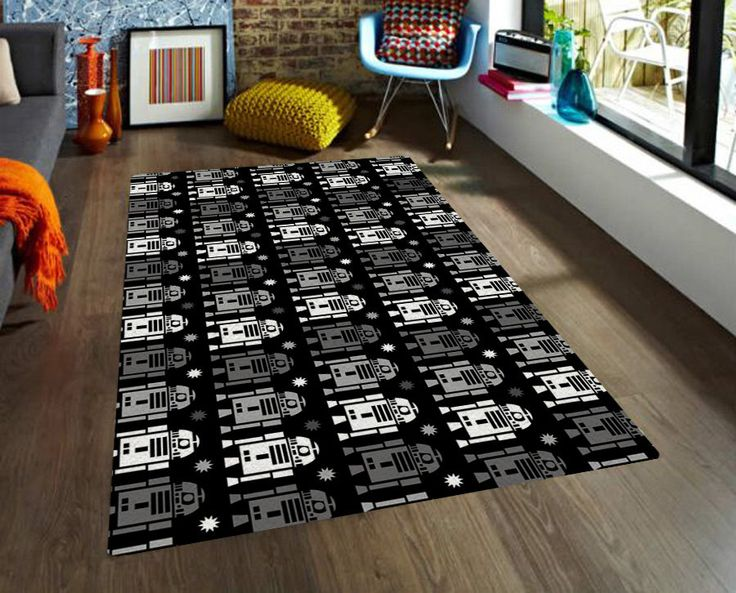 Kids Rug, Star Wars rug, R2D2 rug, carpet, modern rug, contemporary rug, nursery rug, area rugs, boyfriend gifts, black and grey, robot rug by TheGretest on Etsy https://www.etsy.com/ca/listing/228819802/kids-rug-star-wars-rug-r2d2-rug-carpet