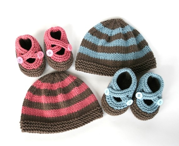 Striped Baby Knit Hat and Booties