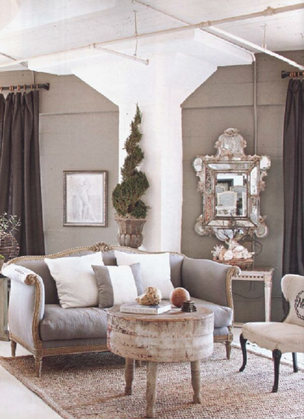 Michelle Niday  - LA designer - French sofa + old cheese table from France