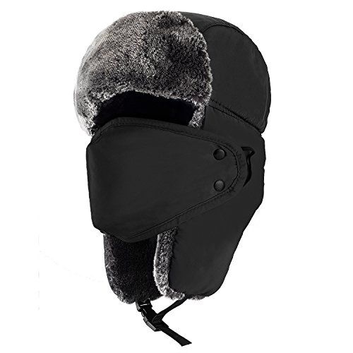 Mysuntown Unisex Winter Trooper Hat Hunting Hat Ushanka Ear Flap Chin Strap and Windproof Mask (Black) - Classic Trapper Hat: Old school style meets tenacious warmth. flock lining for warmth and comfort. Polyester outer shell for easier cleaning. Chin straps and buttons to fasten ear flaps. Versatile design perfect for day to day casual wear, snowboarding or skiing.