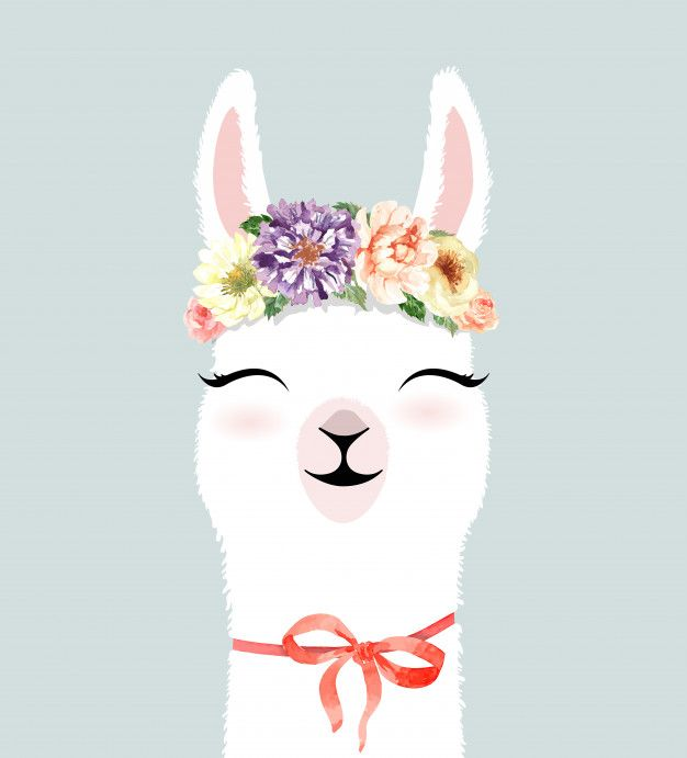 Cute Hand Drawn Llama Character With Flower Crown Watercolor