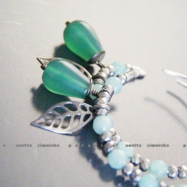 Srebro kolczyki, szmaragdowy agat brazylijski - Kolczyki - Biżuteria srebrna