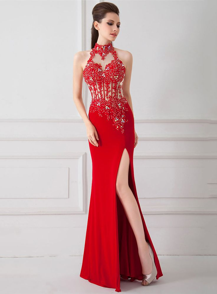 Beformal.com.au SUPPLIES Sexy Red Long High Collar Open Back Applique  Prom Dress Prom Dresses