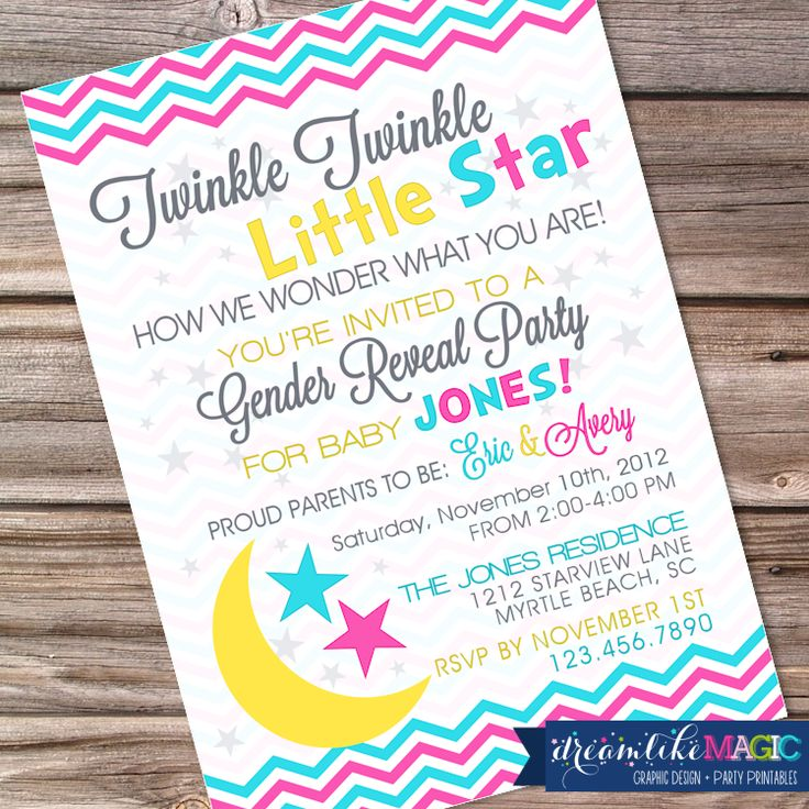 24 best images about twinkle twinkle little star gender reveal on, Baby shower invitations
