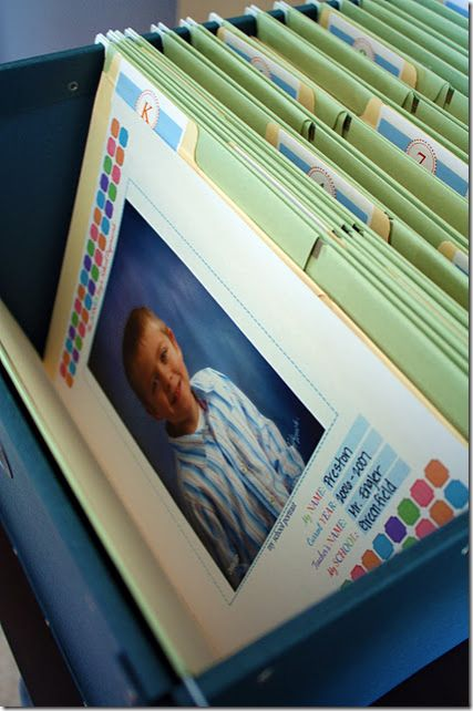 Organizing school work: file for each year with cover sheet to show annual school pic and basic info (teacher's name, school, year/dates)