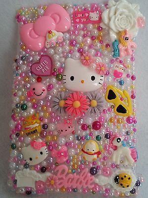 IPAD MINI Hello Kitty Cat Case Flowers Cover Handmade Rhinestones Homemade