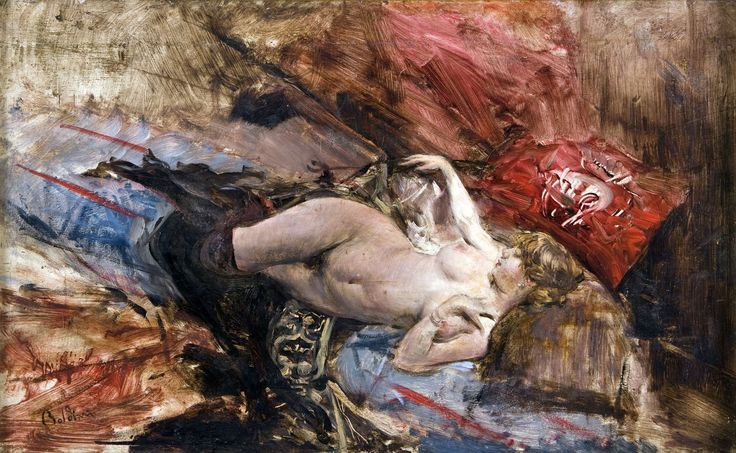 Nude Young Woman Reclining in Black Tights, 1885. Giovanni Boldini