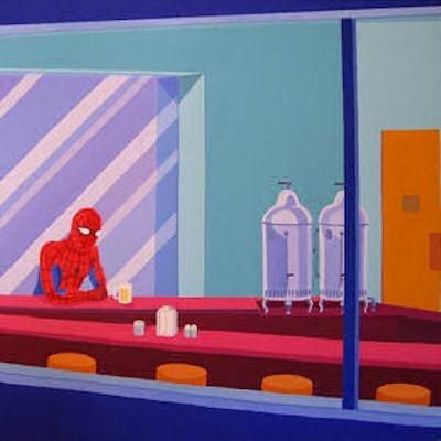 Un tableau oublié de Hopper?... Giuseppe Veneziano, La solitudine del Ragno, 2006