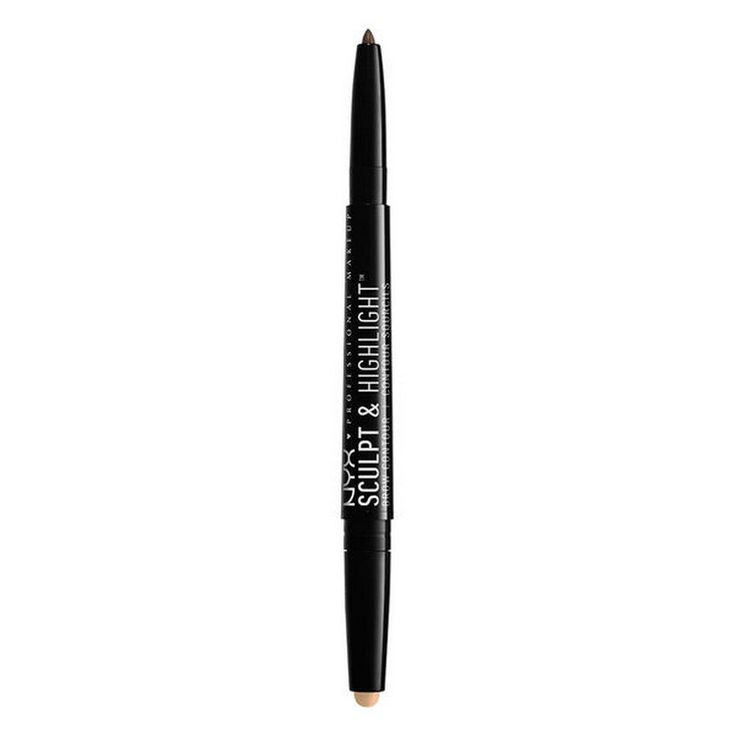 NYX Professional Makeup Sculpt & Highlight Brow Contour, Brunette/Cream. A dual sided brow and highlight pencil ideal for defining, filling and creating the illusion of lifted eyebrows. The propel/repel design means you never have to sharpen either side. The highlight side boosts your natural arch, while the brow side is perfect for defining and filling in brow color. Formulated with castor seed oil, this dynamic eyebrow pencil also helps the skin feel soft and smooth. Lightly fill in and...