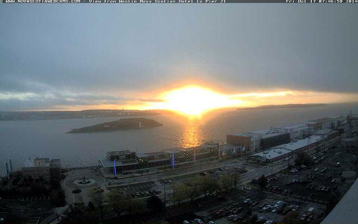 Sunrise: Friday, October 17, 2014. Halifax, Nova Scotia!  http://www.novascotiawebcams.com/en/webcams/pier-21/