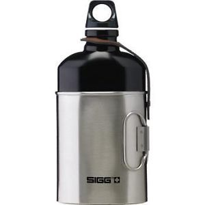SIGG classic oval water bottle and stainless steel cup with leather retaining strap - beautiful and very rare modern SIGG replica of their original 1930's design swiss army canteen.