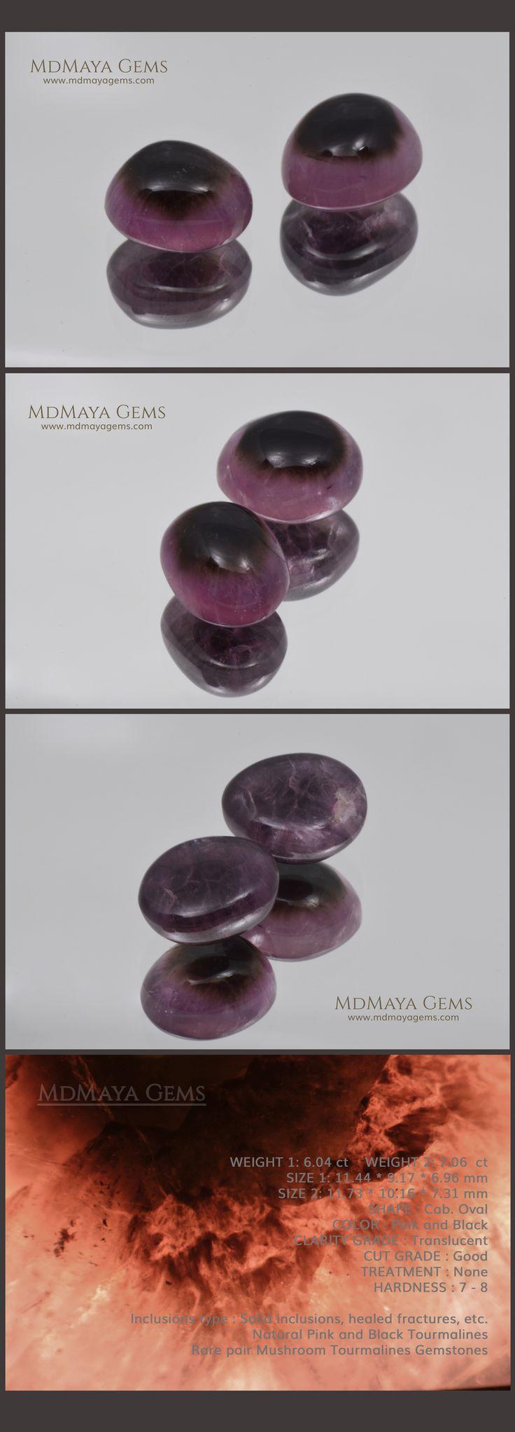 13.10 ct Pair Pink and Black Natural Tourmalines from Mogok 11 * 10 mm Cabochon…