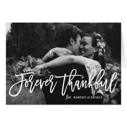Forever Thankful Hand Lettered Wedding Thank You Card - rustic wedding marriage love cyo