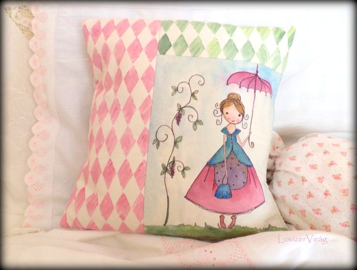 Stitched and painted pillow - little girl with umbrella by LovizerVirág www.facebook.com/ZerVir