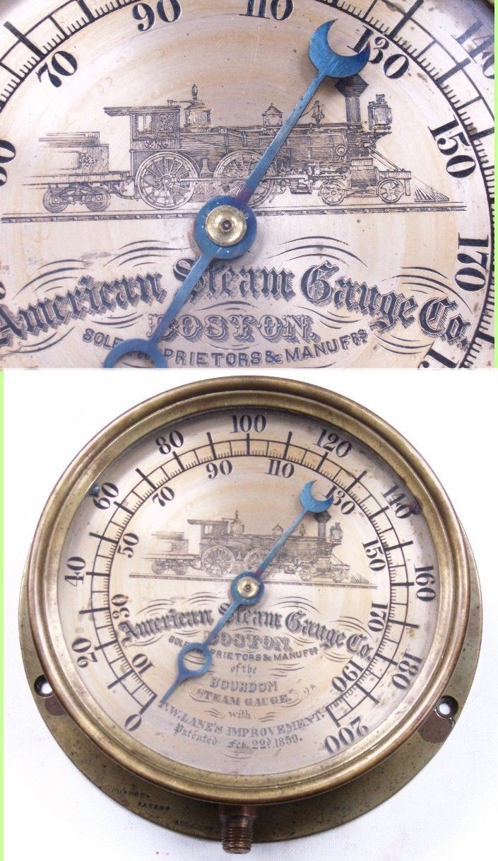 Antique American Steam Engine Gauge Locomotive Engrave