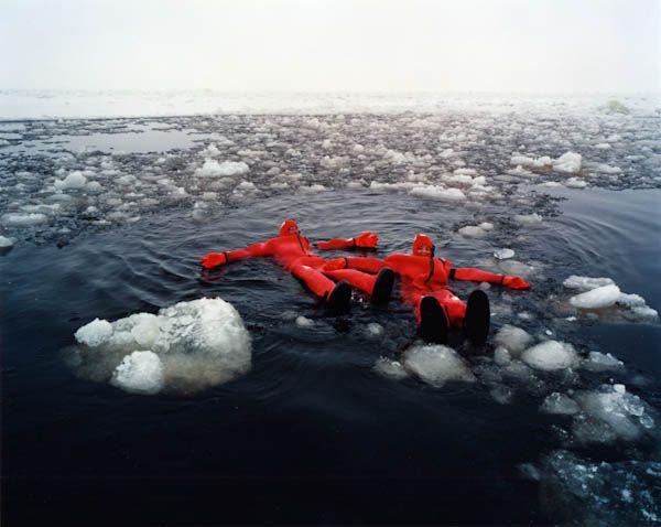 Swimming in Arctic Survival Life Suits, Sampo Arctic Icebreaker, Gulf of Bothnia (Lapland), Finland