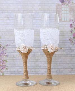 LEMBRANCINHAS E FESTAS 2: Taças decoradas para o brinde dos noivos