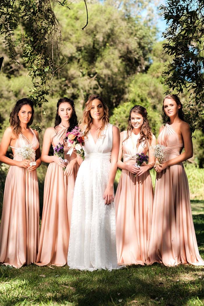 Goddess by Nature Wedding Dress and Bridesmaids Gowns same dress in different styles