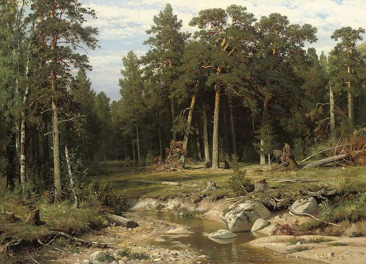 Иван И. Шишкин - Мачта сосновый лес в Вятской губернии - Famous landscape paintings - Wikimedia Commons