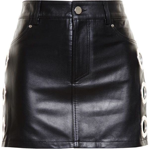 Filles A Papa Leather Skirt (290 AUD) ❤ liked on Polyvore featuring skirts, leather skirt, knee length leather skirt and real leather skirt