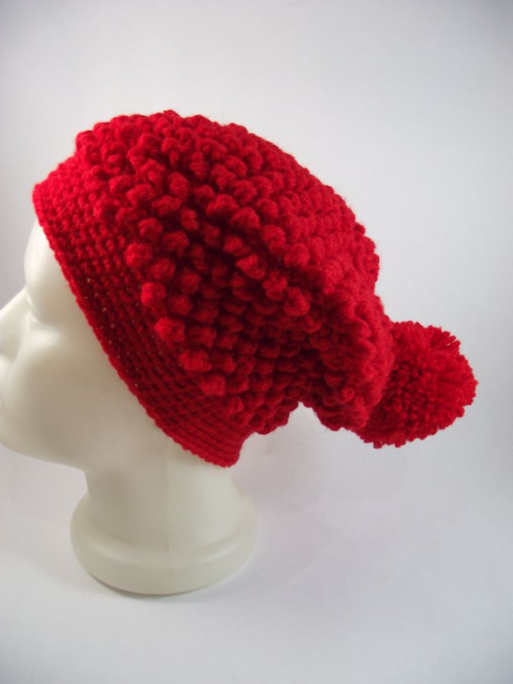 Red Beanie Hat-Slouchy Beanie Hat-Handmade Hat-Womens Winter Hat-Christmas Gift by duduhandmade on Etsy